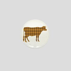 Cow: Orange Plaid Mini Button