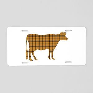Cow: Orange Plaid Aluminum License Plate