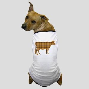 Cow: Orange Plaid Dog T-Shirt