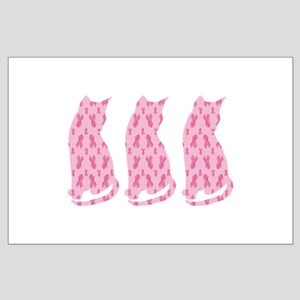 Pink Ribbon Cats for Cancer Posters