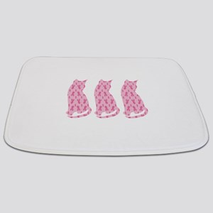 Pink Ribbon Cats for Cancer Bathmat