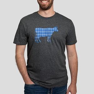 Cow: Sky Blue Plaid Mens Tri-blend T-Shirt