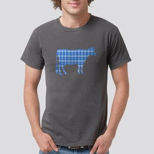 Cow: Sky Blue Plaid Mens Comfort Colors Shirt