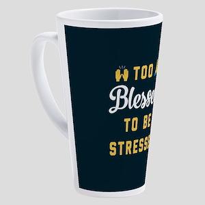 Emoji Too Blessed to Be Stressed 17 oz Latte Mug