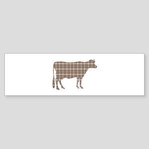 Cow: Brown Plaid Sticker (Bumper)