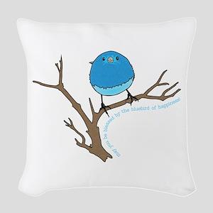 Bluebird Of Happiness Blessing Woven Throw Pillow