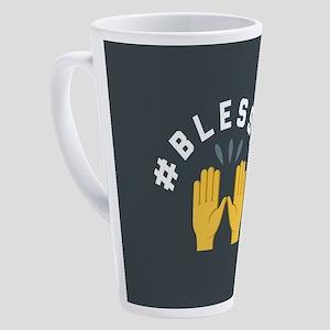 Emoji Hashtag Blessed 17 oz Latte Mug