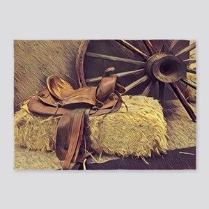 horse saddle western country cowboy 5'x7'Area Rug