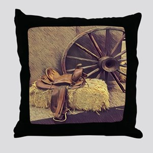 horse saddle western country cowboy Throw Pillow