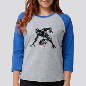 Black Panther Claw Womens Baseball Tee