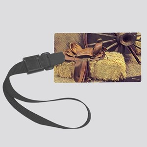 horse saddle western country cow Large Luggage Tag