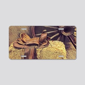 horse saddle western countr Aluminum License Plate