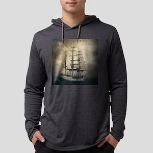 vintage pirate ship landscape Long Sleeve T-Shirt