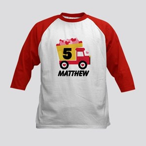 5th Birthday Valentine Truck Baseball Jersey