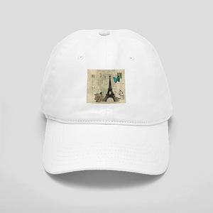 beige damask paris eiffel tower Cap