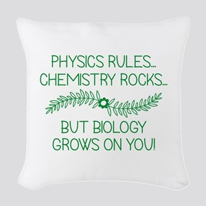 Biology Grows On You Woven Throw Pillow