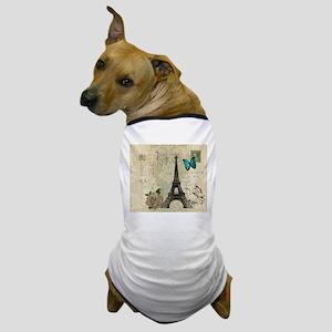 beige damask paris eiffel tower Dog T-Shirt