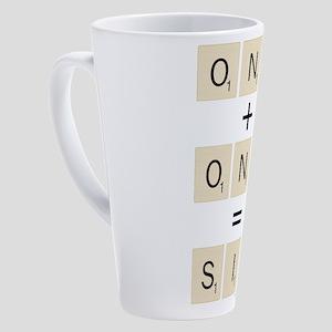 Scrabble One Plus One Six 17 oz Latte Mug