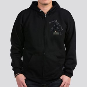 Black Panther Pose Zip Hoodie (dark)