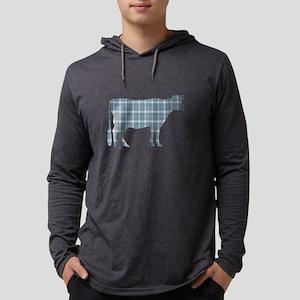 Cow: Neutral Blue Plaid Mens Hooded Shirt