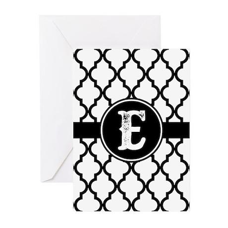 Black Monogram: Letter E Greeting Cards (Pk of 20) by