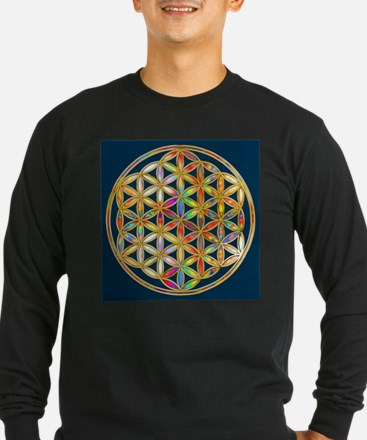 Flower Of Life gold colored II Long Sleeve T-Shirt