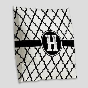 Black Monogram: Letter H Burlap Throw Pillow