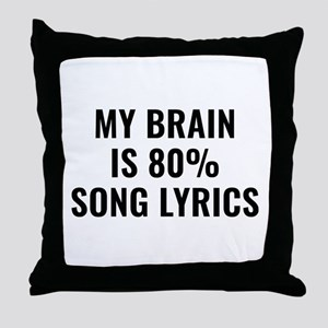 My Brain Is 80 Percent Song Lyrics Throw Pillow