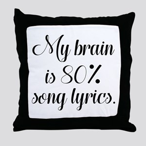 My Brain Is 80 Percent Song Lyrics Throw Pillow