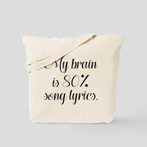 My Brain Is 80 Percent Song Lyrics Tote Bag
