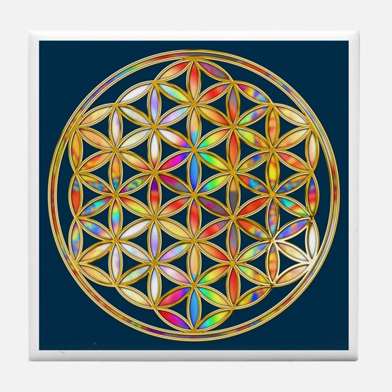 Flower Of Life gold colored II Tile Coaster