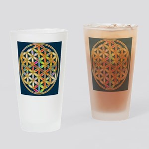 Flower Of Life gold colored II Drinking Glass