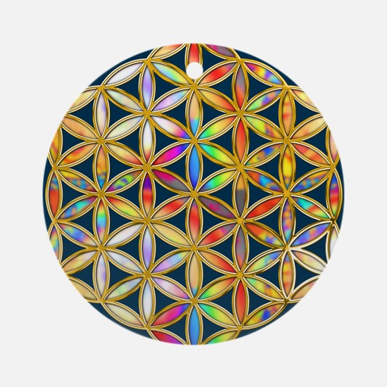 Flower Of Life gold colored II Round Ornament