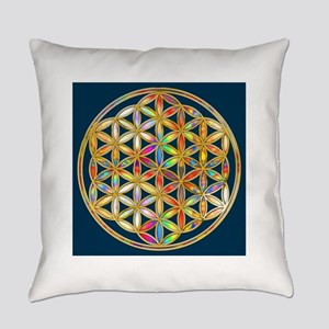 Flower Of Life gold colored II Everyday Pillow