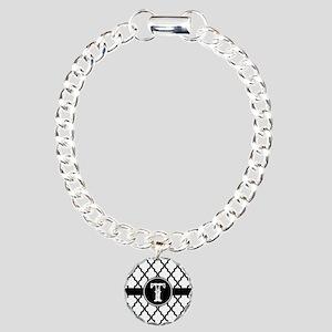Black Monogram: Letter T Charm Bracelet, One Charm