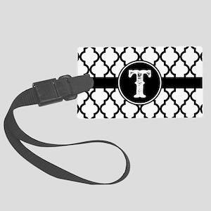 Black Monogram: Letter T Large Luggage Tag
