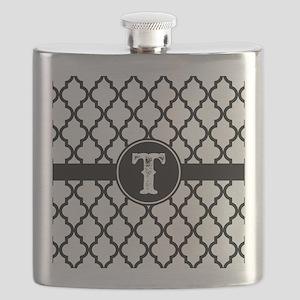 Black Monogram: Letter T Flask