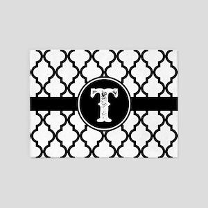 Black Monogram: Letter T 5'x7'Area Rug