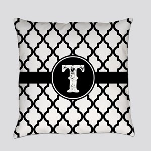 Black Monogram: Letter T Everyday Pillow