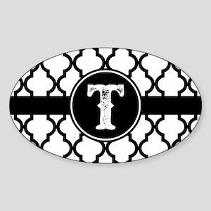 Black Monogram: Letter T Sticker (Oval)
