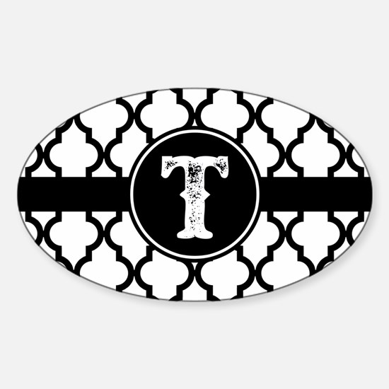 Black Monogram: Letter T Sticker (Oval)