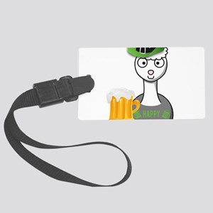 happy st patricks day alpaca Large Luggage Tag