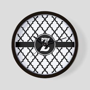Black Monogram: Letter Z Wall Clock