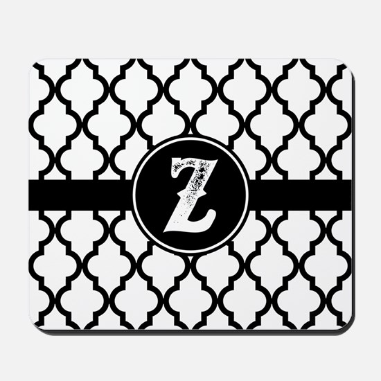 Black Monogram: Letter Z Mousepad