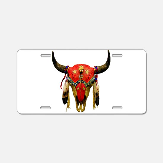 Star Buffalo Skull Aluminum License Plate