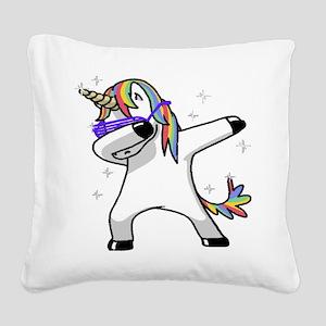 unicorn dabbing Square Canvas Pillow