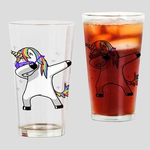 unicorn dabbing Drinking Glass