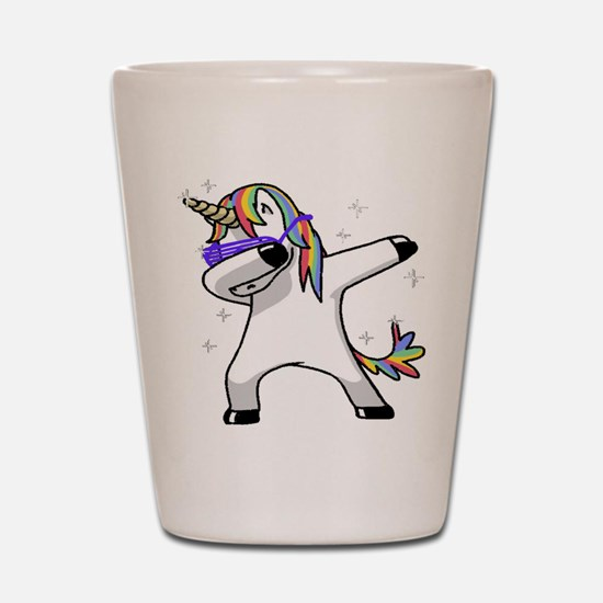 unicorn dabbing Shot Glass