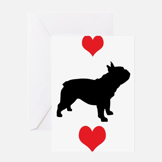 French Bulldog Red Hearts Greeting Cards