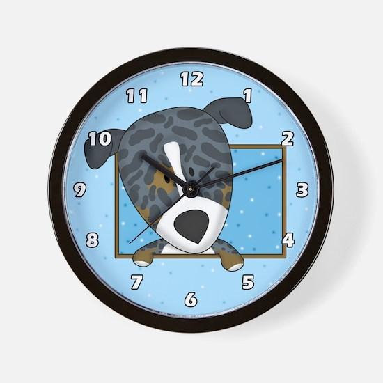 Cartoon Catahoula Leopard Dog Clock